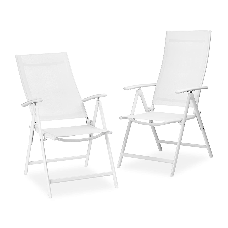 Relaxdays Gartenstuhl Alu klappbar, 2er Set, Hochlehner, Armlehne verstellbar, HxBxT: 100 x 56 x 100 cm Balkonstuhl, weiß