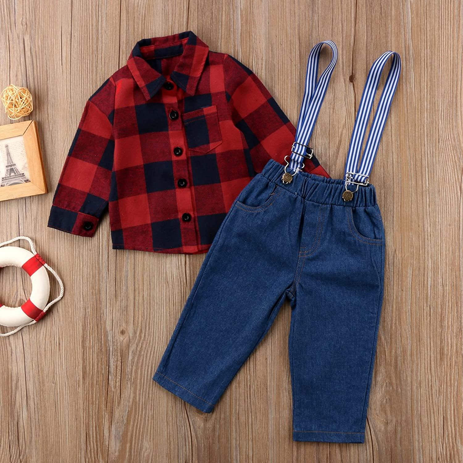 1940s Children's Clothing: Girls, Boys, Baby, Toddler Pudcoco Little Boys Long Sleeve Plaid Button-Down Shirt and Denim Overall Jeans Outfit Set $8.99 AT vintagedancer.com