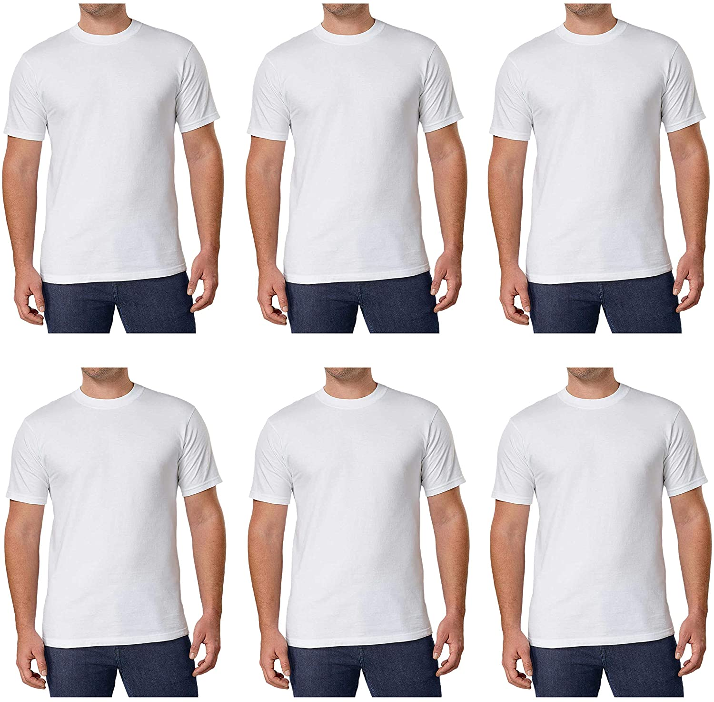 6 NEW Men/'s White Crew Neck Tees Kirkland Signature 6-pack T Shirts PICK SIZE