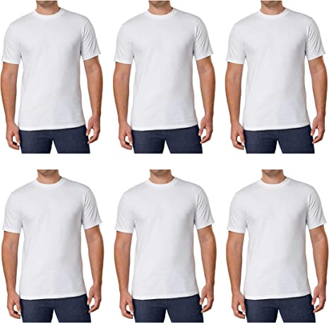 Kirkland Mens Crew Neck White T-Shirts 100% Combed Heavyweight ...