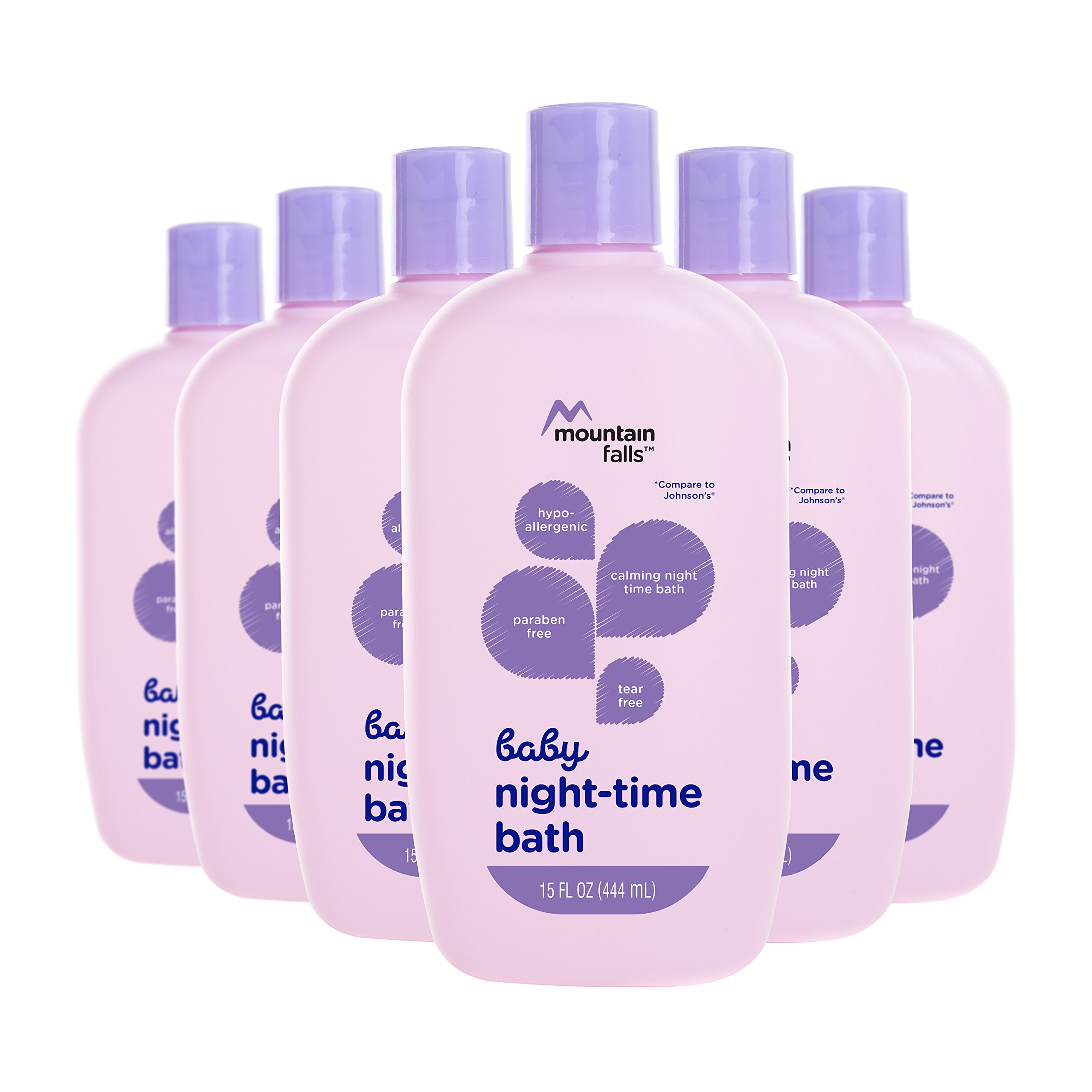 Mountain Falls Hypoallergenic Tear-Free Baby Night-Time Bath, Compare to Johnson's, 15 Fluid Ounce (Pack of 6)