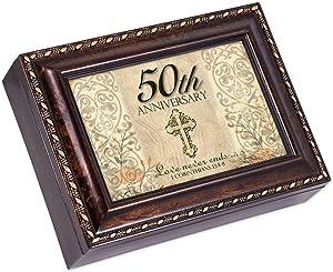 50th Anniversary Gold Year Burl Wood Finish Jewelry Music Box Plays Amazing Grace