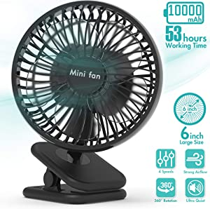 6-Inch Clip On Fan, 10000mAh Battery Operated USB Desk Fan With Up to 53H Long Working Time, 4 Speeds, Fast Air Circulation, Quiet Operation, Sturdy Clamp for Outdoor Camping, Treadmill, Home, Office