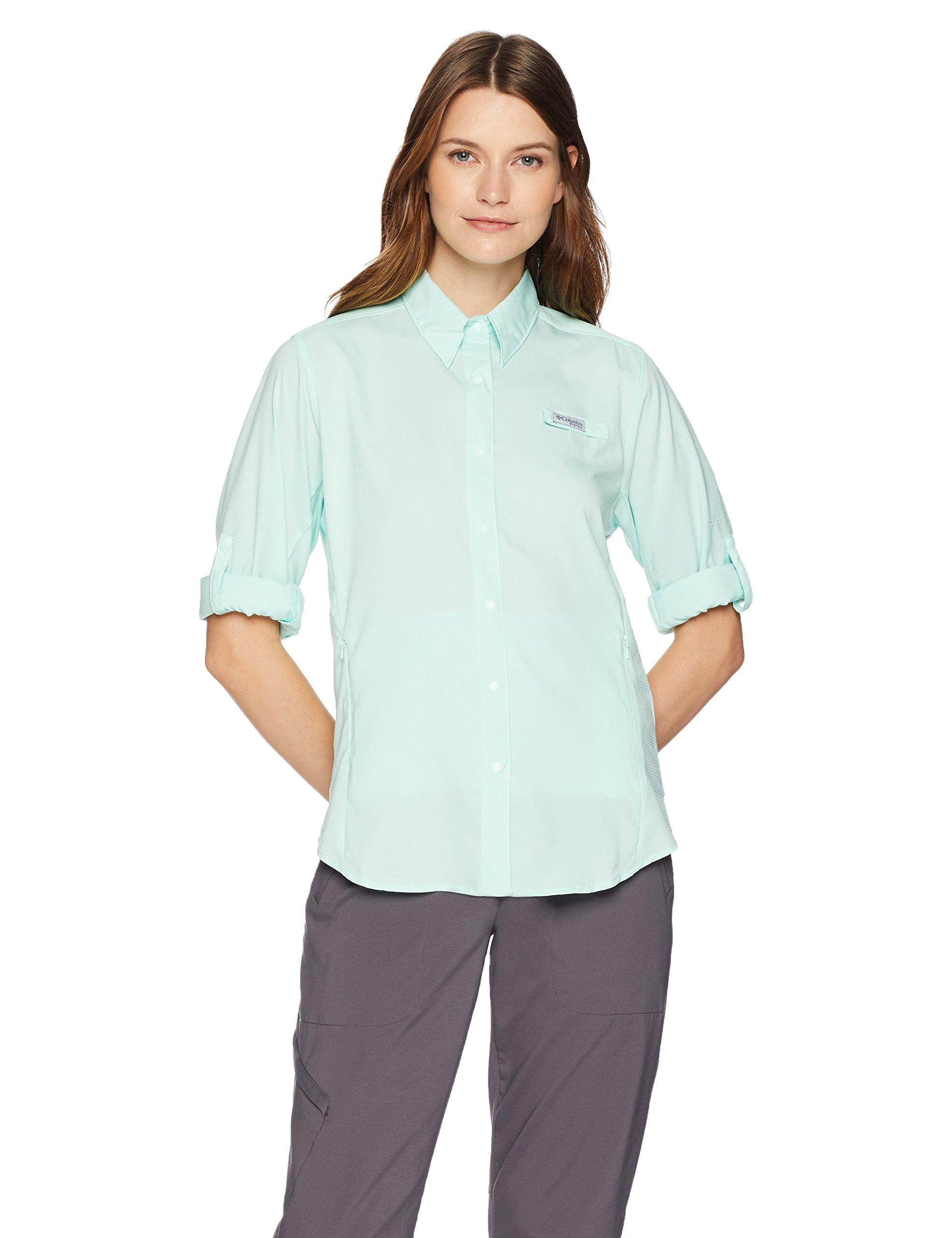 Columbia Women's PFG Tamiami II Long Sleeve Shirt , Sea Ice, X-Large by Columbia