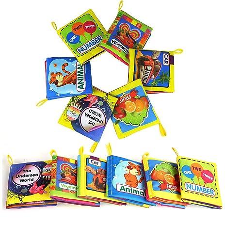Leadstar Bebe Tissu Livres Jouet Educatif Intelligence Development Animale Cloth Apprentissage Et Activite Jouets Pour Bambin Enfants Bebe Lot De 6