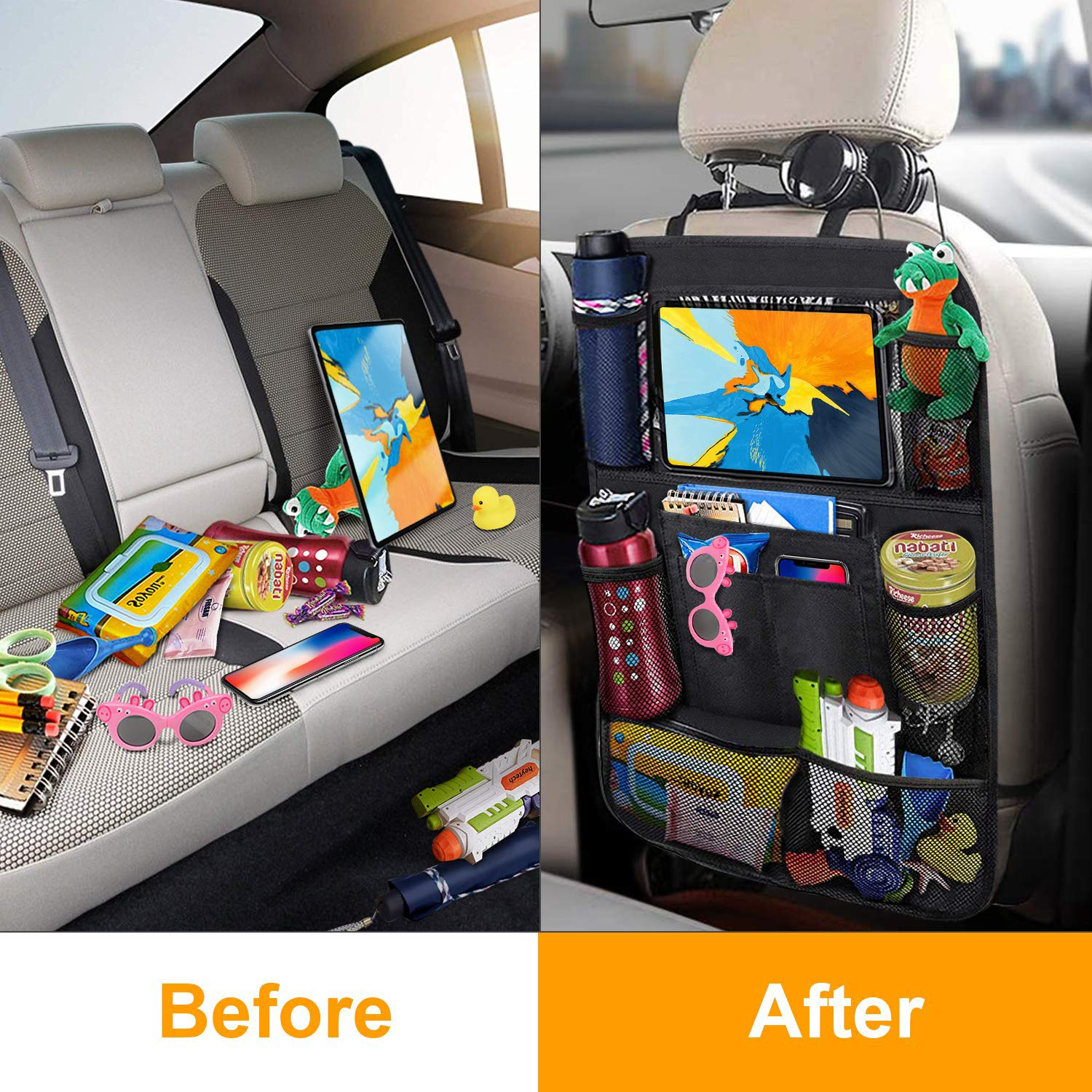 Car Backseat Organizer Kick Mats Car Back Seat Protector Mat with 10.1 Touch Screen Tablet Holder 2Pcs 11 Storage Pockets Auto Seat Cover Organizer for Kids Toy Bottle Drink Vehicle Travel Accessory