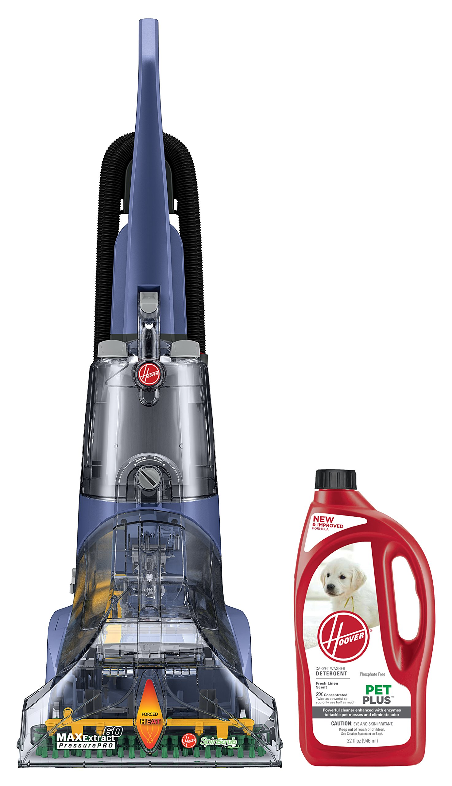 Hoover Max Extract 60 Pressure Pro Carpet Deep Cleaner, FH50220 and Hoover 2X PetPlus Pet Stain & Odor Remover 32 oz, AH30325 Bundle