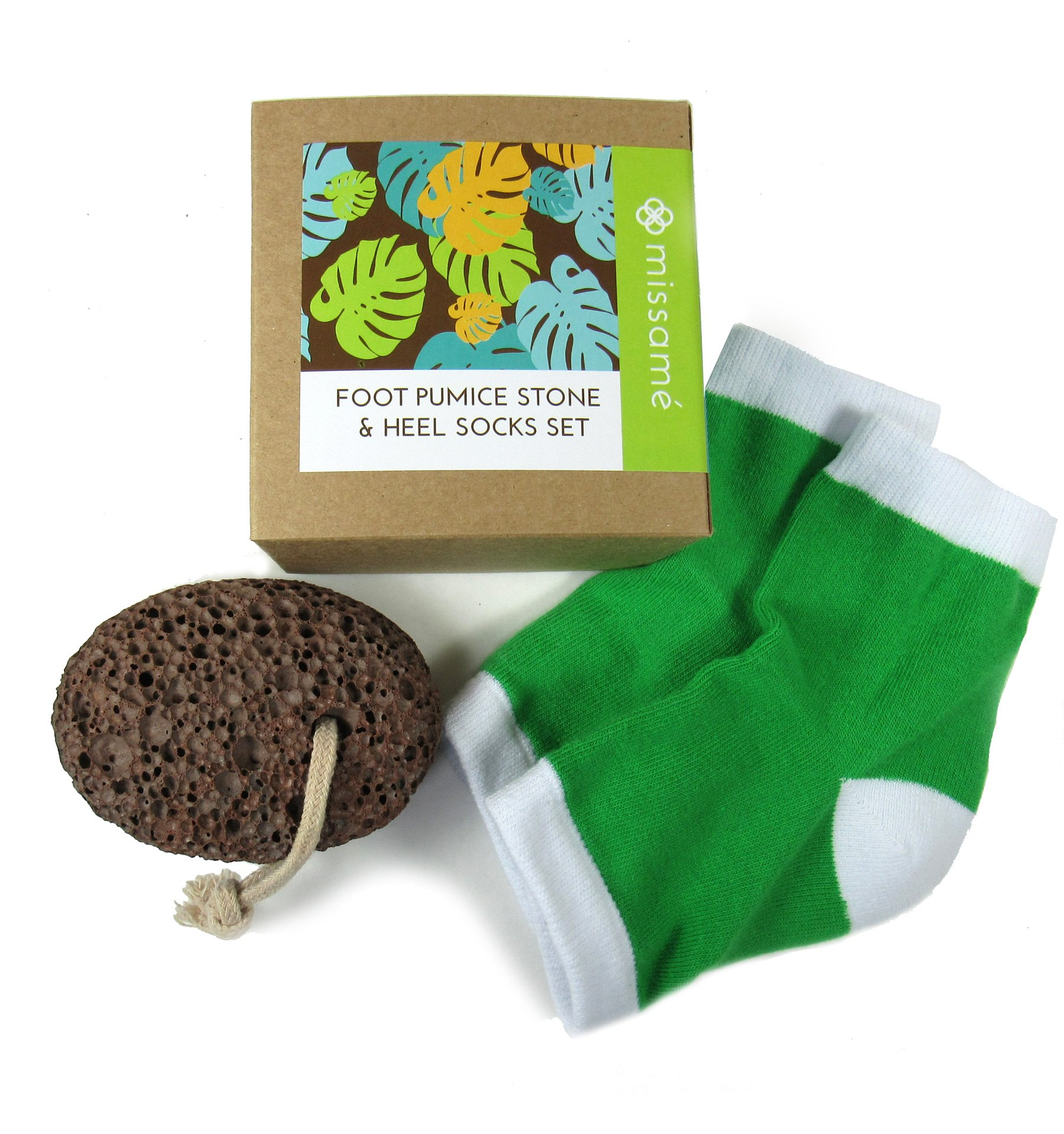 Missamé Rough Pumice Stone For Feet and Moisturizing Gel Heel Socks For Cracked Skin On Foot