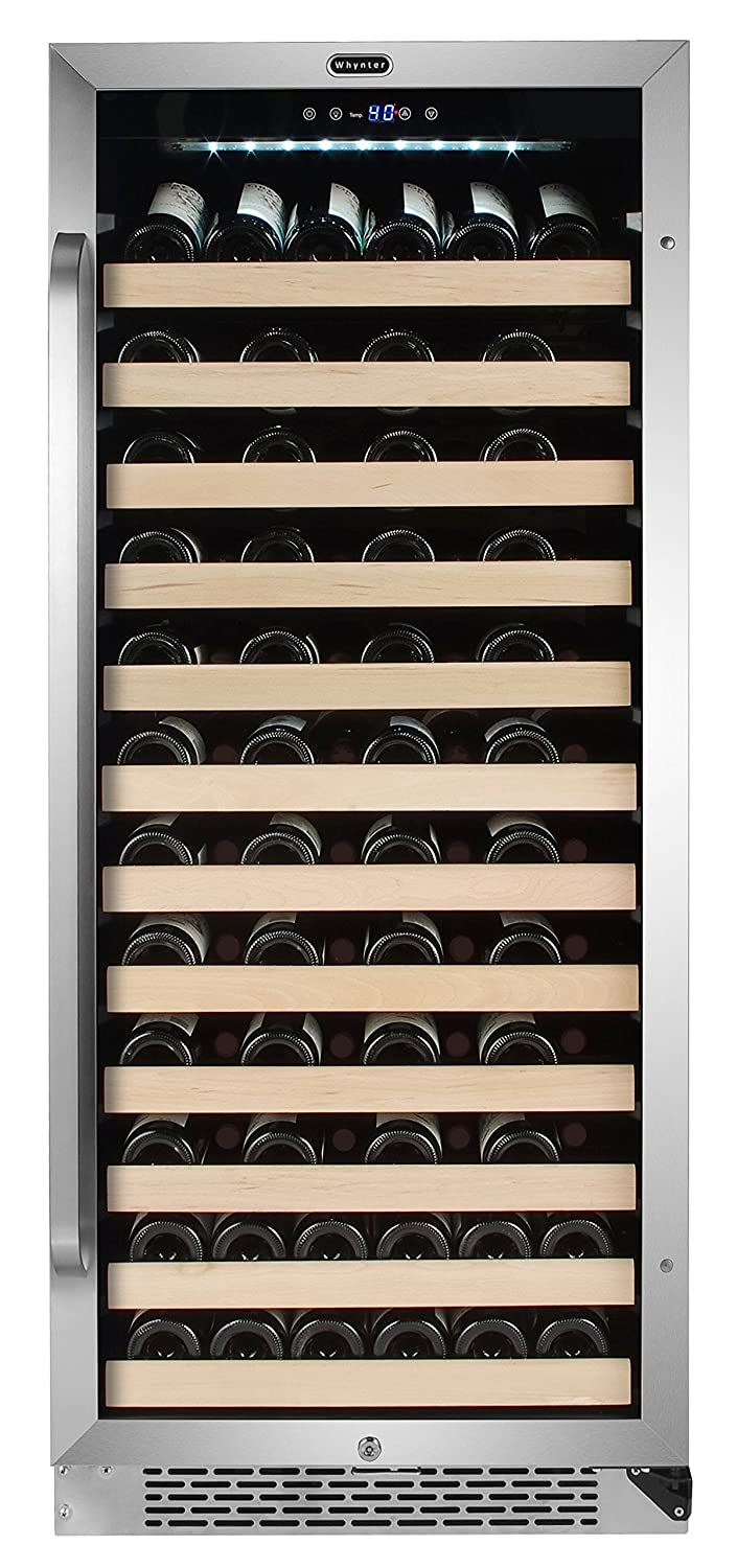 Whynter BWR-1002SD 100 Bottle Built-in Compressor Wine Refrigerator Rack and LED Display, Stainless-Steel, One Size,
