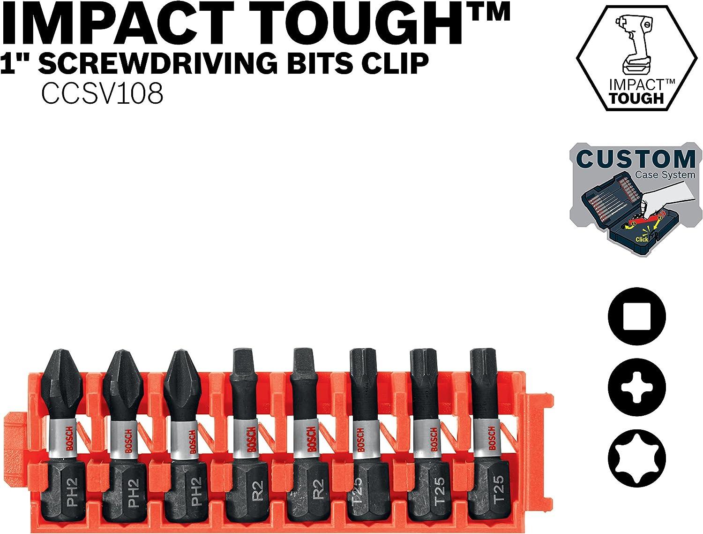 Bosch Ccstv108/8piece Impact r/ésistant Torx 1/in 0 voltsV Insert Embouts avec clip pour syst/ème de Coque personnalis/és CCSSQV108 0 wattsW