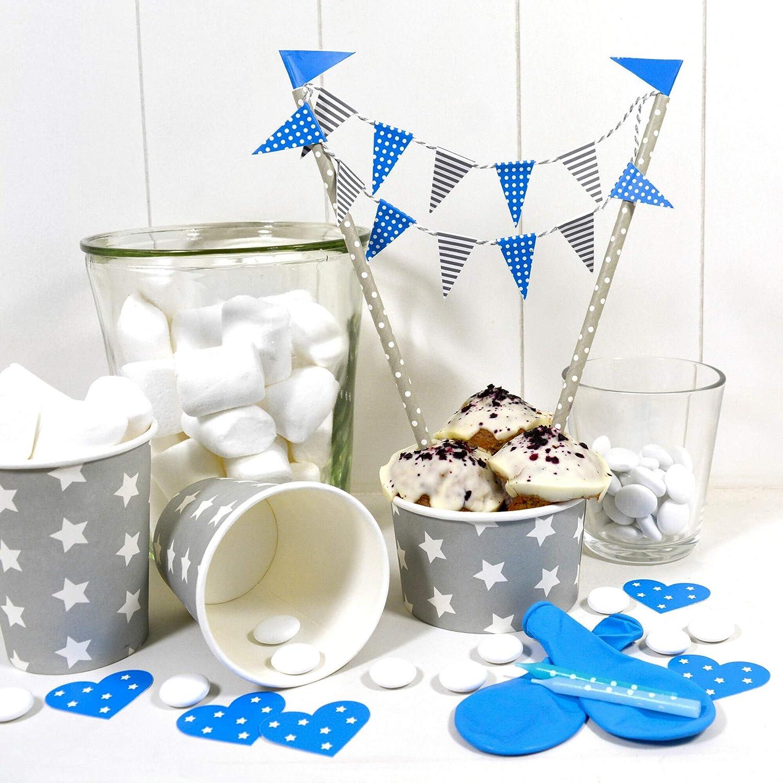 Frau WUNDERVoll/® Deko Muffin Backset BLAU f/ür Kinder und Erwachsene Inhalt 25 Muffin Backformen//Kuchengirlande// 25 Kuchenstecker