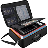 Document Organizer File Storage Bag,Fireproof & Waterproof Travel Important Document Holder Box with Safe Code Lock and…