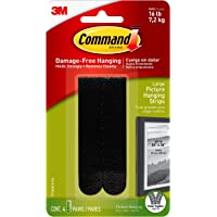 Large Picture Hanging Strips Heavy Duty, Black, Holds up to 16 lbs, 4-Pairs