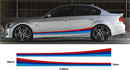 BMW M Color Pegatina Graphic de coche Side rayas Set M Sport E30 E36 E39 E46 E60 E90 M3, M5 (ss20009): Amazon.es: Coche y moto