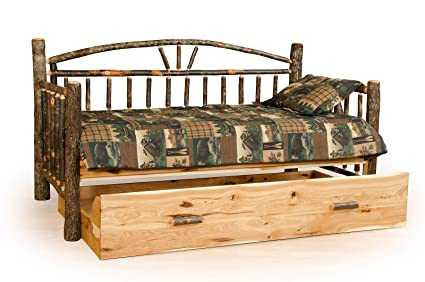 Rustic Hickory Day Bed With Trundle Amish Made