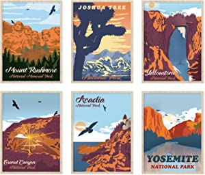 YUMKNOW Vintage Travel Mountain Decor – Unframed 11x14 Set of 6, Modern Boho Bathroom Decor for Wall Art Bedroom Prints Posters, Nature Landscape National Parks Office Decor Teens Kitchen Neutral