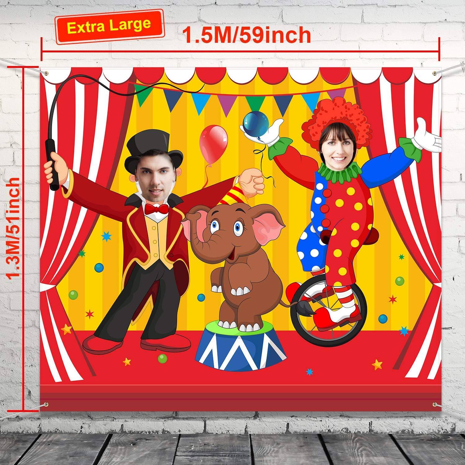 Carnival Circus Party Decoration Carnival Photo Door Banner Backdrop Props Large Fabric Photo Door Banner for Carnival Circus Party Decor Carnival Game Supplies Acrobatics