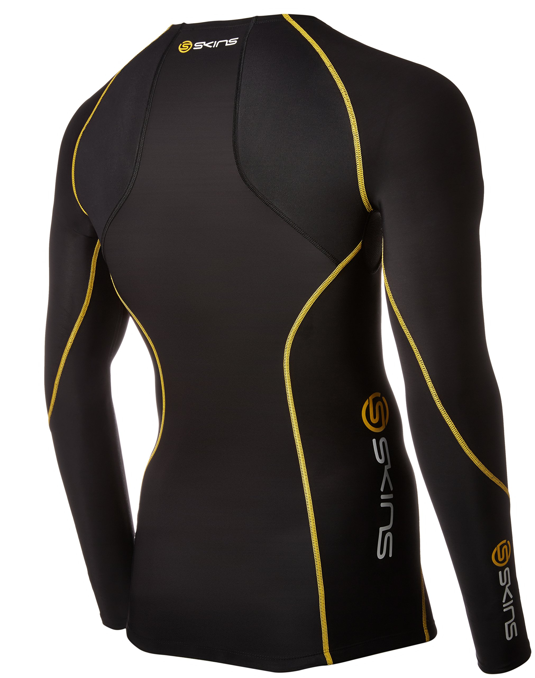 Skins A200 Men's Long Sleeve Compression Top, XX-Large Black/Yellow by Skins (Image #2)