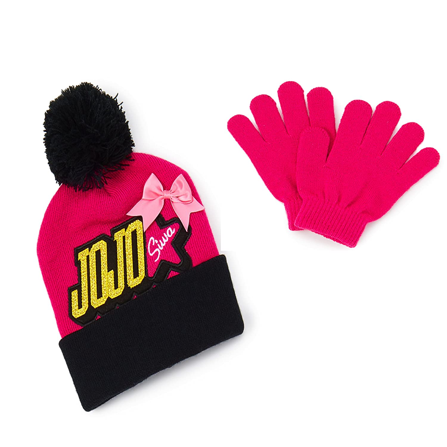 ee67866d3a0 JoJo Siwa Nickelodeon Beanie   Glove Set (Pink Black)  Amazon.ca  Clothing    Accessories