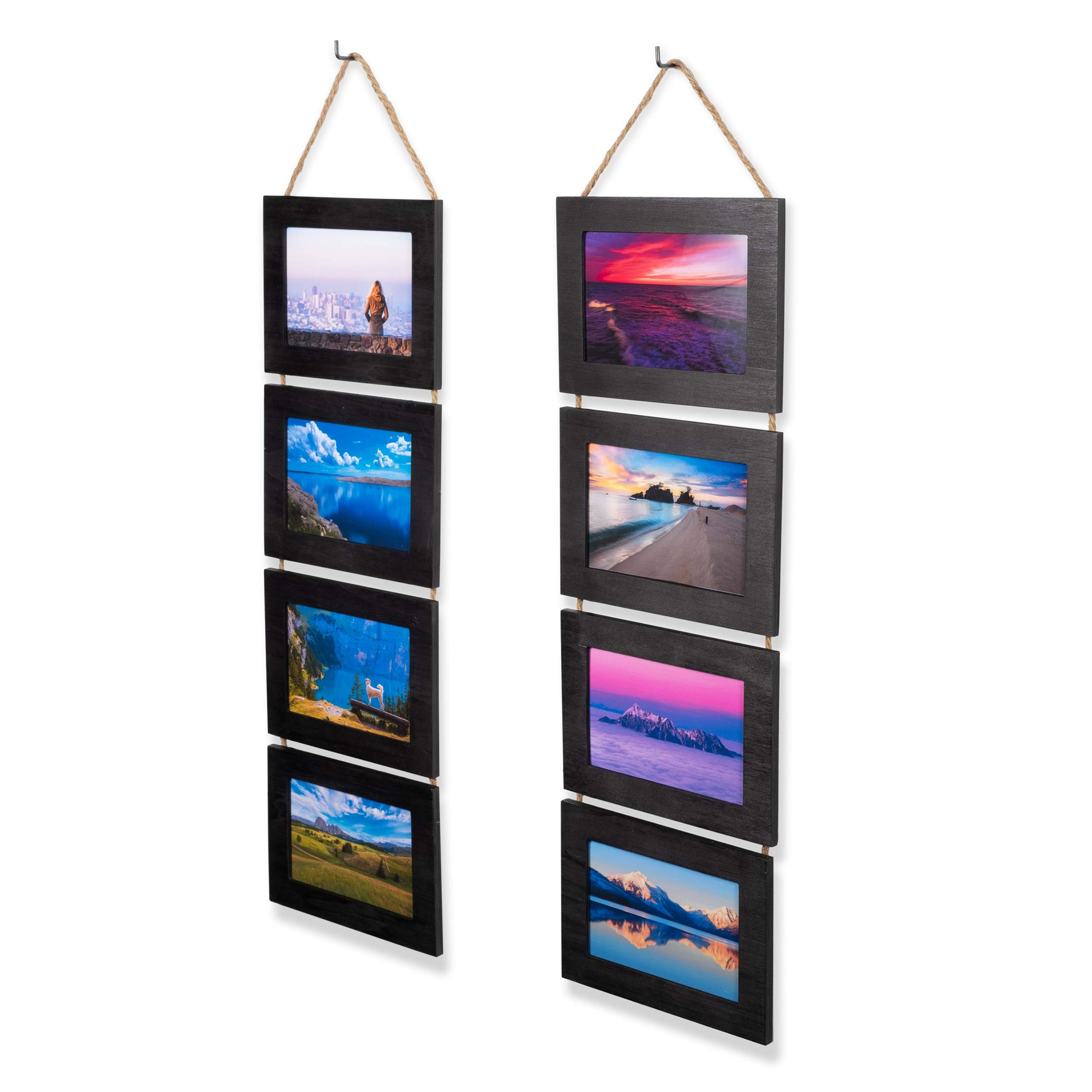 Wallniture Wood Photo Collage Picture Frame Black Finish Total 8 Opening for 4x6 Inch Photos Wall Mountable Ready to Hang Vertical Gallery Décor by Wallniture
