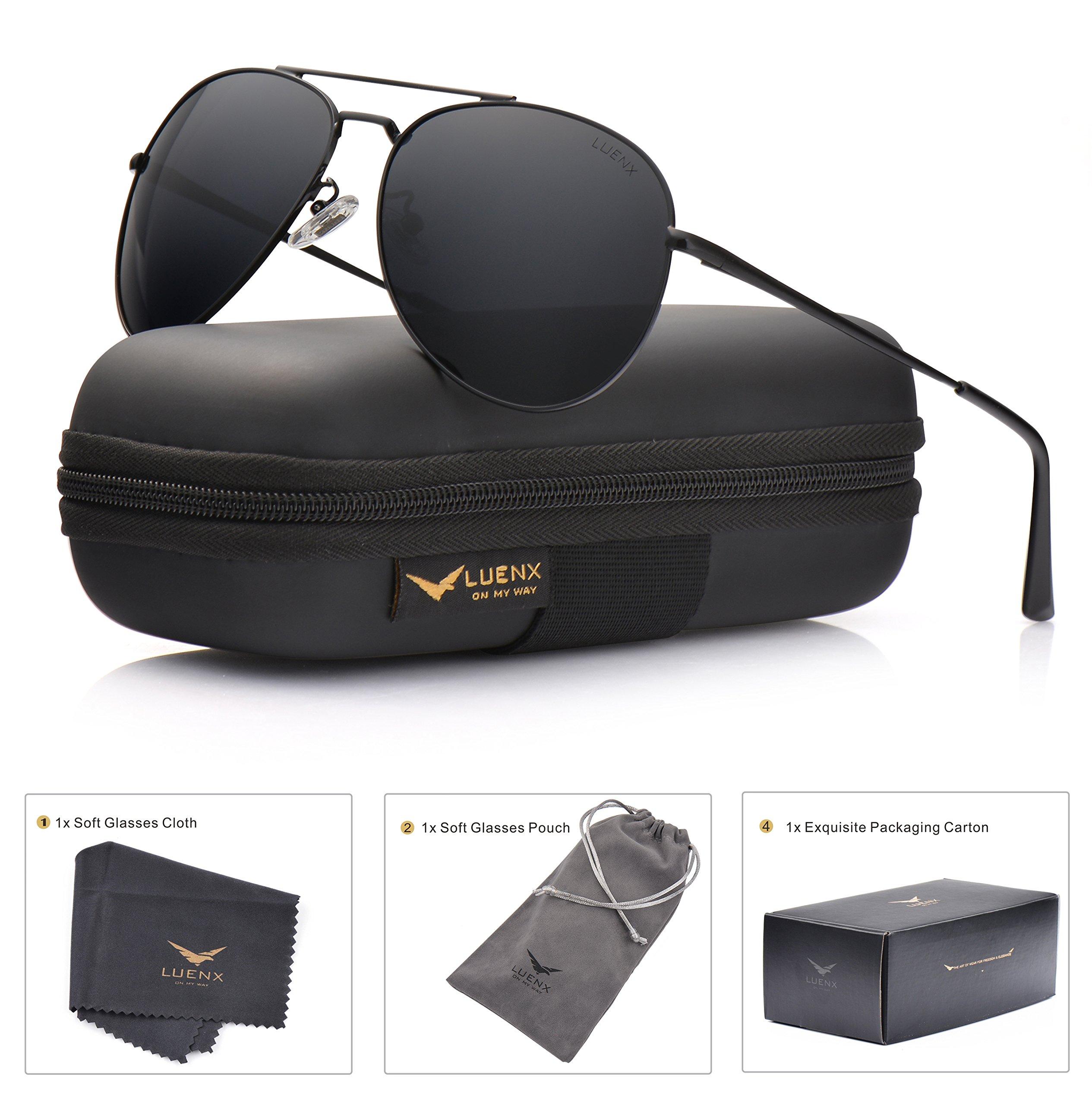 LUENX Aviator Sunglasses Men Women Polarized with Case - UV 400 Non-Mirror Black Lens Metal Black Frame 60mm