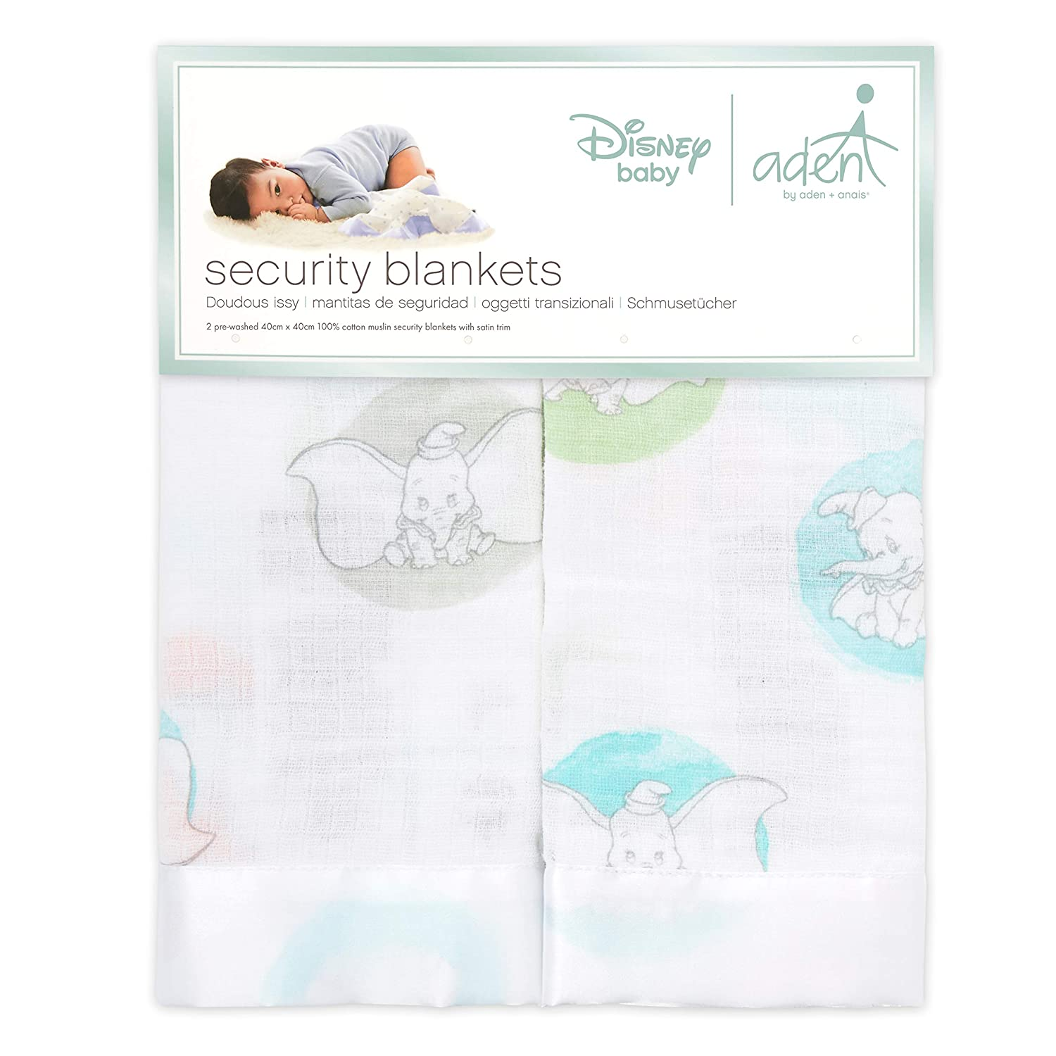 anais issie security blanket aden 40cm X 40cm 2 pack 100/% cotton muslin with satin trim night sky reverie