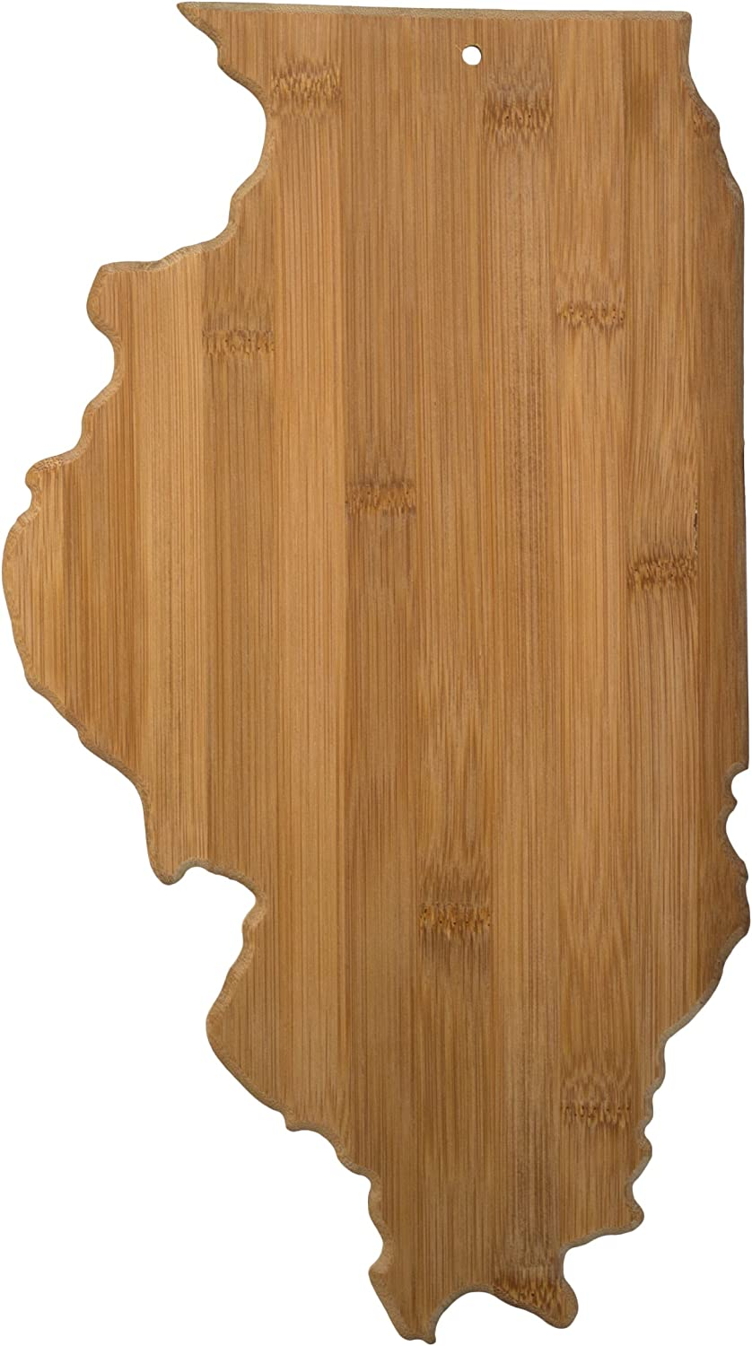 Totally Bamboo Illinois State Shaped Bamboo Serving and Cutting Board