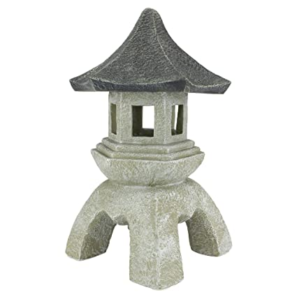 Superbe Design Toscano Asian Decor Pagoda Lantern Outdoor Statue, Large 17 Inch,  Polyresin, Two
