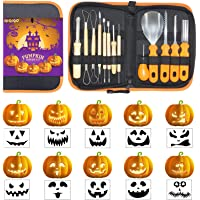 QIQIGO Pumpkin Carving Kits 13 Piece Professional Pumpkin Cutting Supplies Tools Set for kids Stainless Steel with Stencils for Halloween Decorating jack-o-lanterns