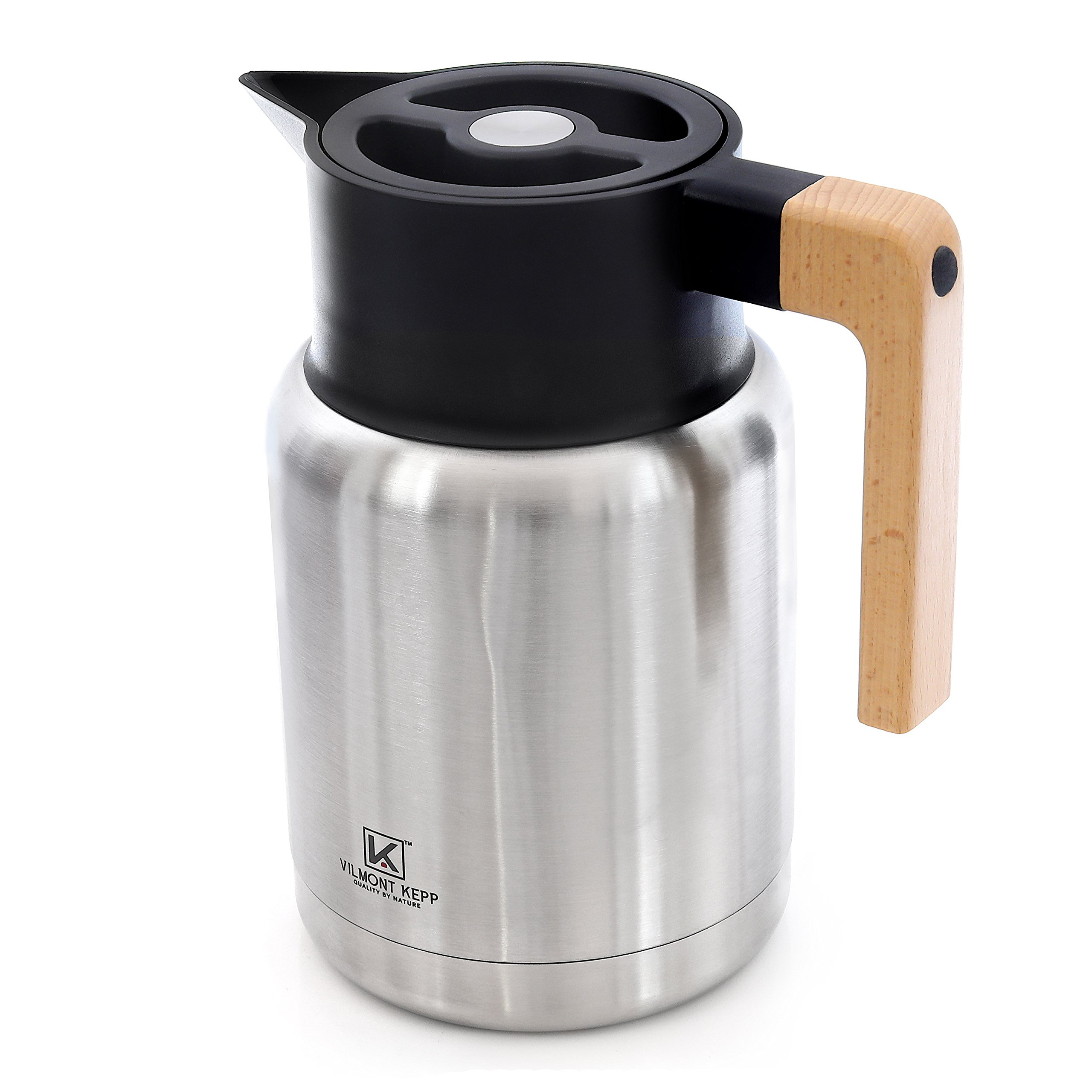 Vilmont Kepp Premium Heavy Duty Large (50oz) Thermal Carafe Coffee or Tea Dispenser Thermos - Double Walled Stainless Steel, Hot and Cold Beverages, Beechwood Handle, Home or Office, Gift Boxed