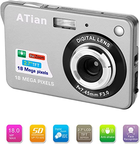 ATian Compactas Cámaras Digitales 2.7 Pulgadas LCD 8X Zoom Digital ...
