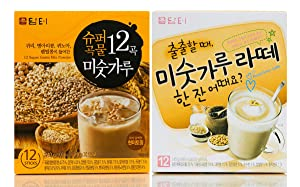 Damtuh Korean 12 Super Grain Mix Powder 12 Sticks + Roast Grain Latte 12 Sticks