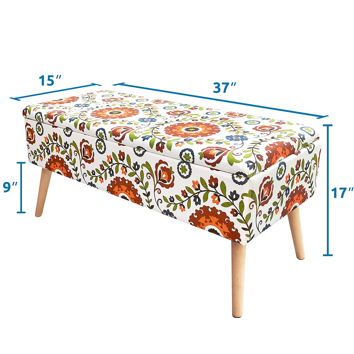 Otto Ben 37 Storage Bench – Mid Century Ottoman with EASY LIFT Top, Upholstered Shoe Ottomans Seats for Entryway and Bedroom, Retro Floral