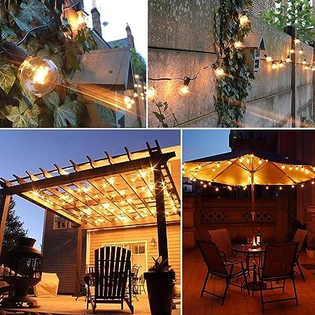 WIXANN - Guirnalda de Luces LED solares para Exteriores, para Colgar Bombillas de filamento Edison, 25 Bombillas por hebra (4400 mAh, Impermeable): Amazon.es: Jardín