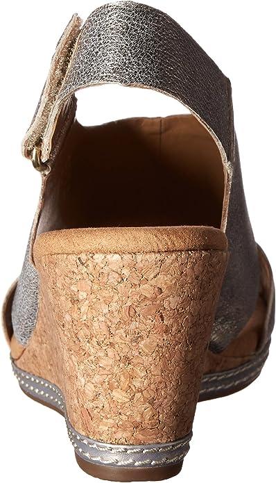 Details about  /Clarks Women Sandals Nubuck Helio Float Leather Cork Wedge Slingback