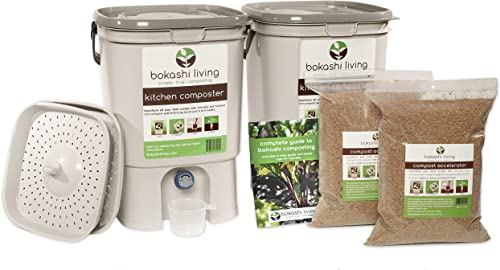 Bokashi Composting Starter Kit Includes 2 Bokashi Bins, 3.5lbs of Bokashi Bran and Full Instructions