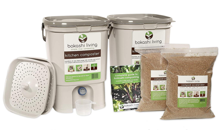 2 papelera Bokashi Compost Starter Kit (incluye 2 bandejas de ...