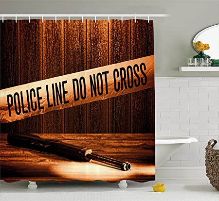 Murder Scene Shower Curtain By Safety Warning Tape At Forensic