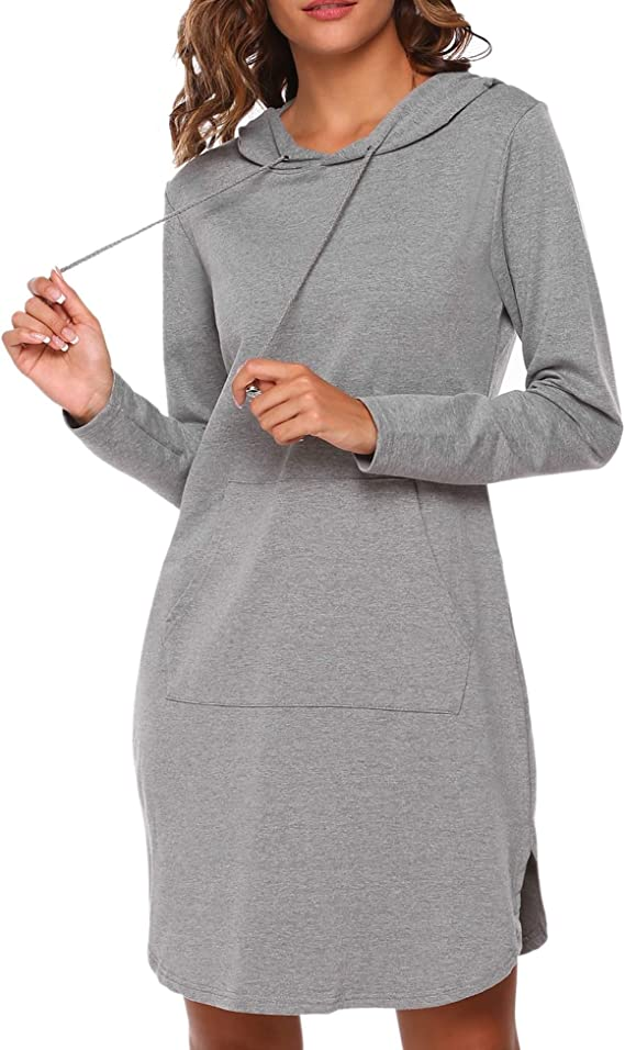 ACEVOG Women's Sweatshirt Long Sleeve Round Split Hem Hoodie Dress with Kangaroo Pockets
