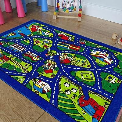 Kids/Baby Room/Daycare/Classroom/Playroom Area Rug Blue City Roads Map Train Tracks Cars Play Mat Fun Educational Non-Slip Gel Back. (5 Feet X 7 Feet): Toys & Games