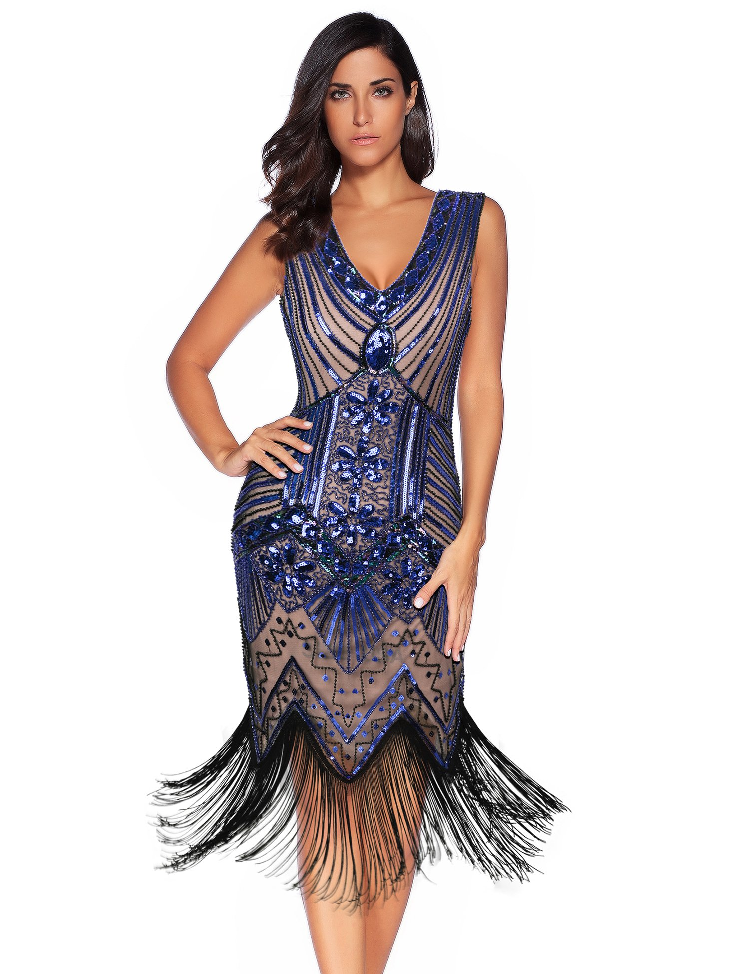 Meilun 1920s Sequined Inspired Beaded Gatsby Flapper Evening Dress Prom (L, Blue Beige)