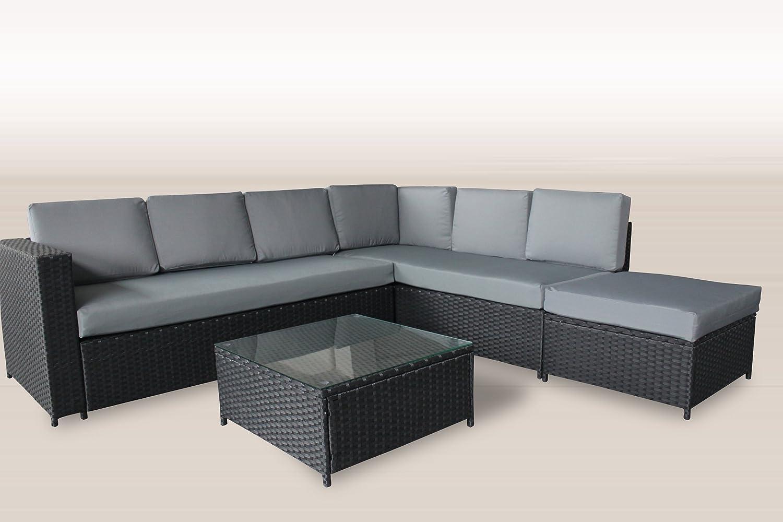 polyrattan lounge 235x225 cm garten m bel incl glas und polster in schwarz gartenm bel g nstig. Black Bedroom Furniture Sets. Home Design Ideas