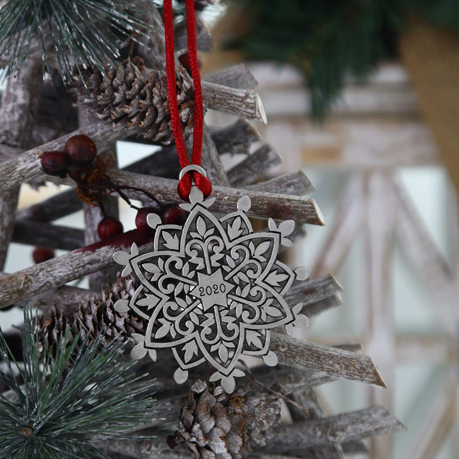 TZSSP Pewter Decorative Hanging Ornaments Holiday Christmas Ornament,Snowflake