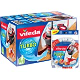 Vileda EasyWring Clean Turbo Microfibre Mop and Bucket Set with Extra 2-in-1 Refill, Black/Red