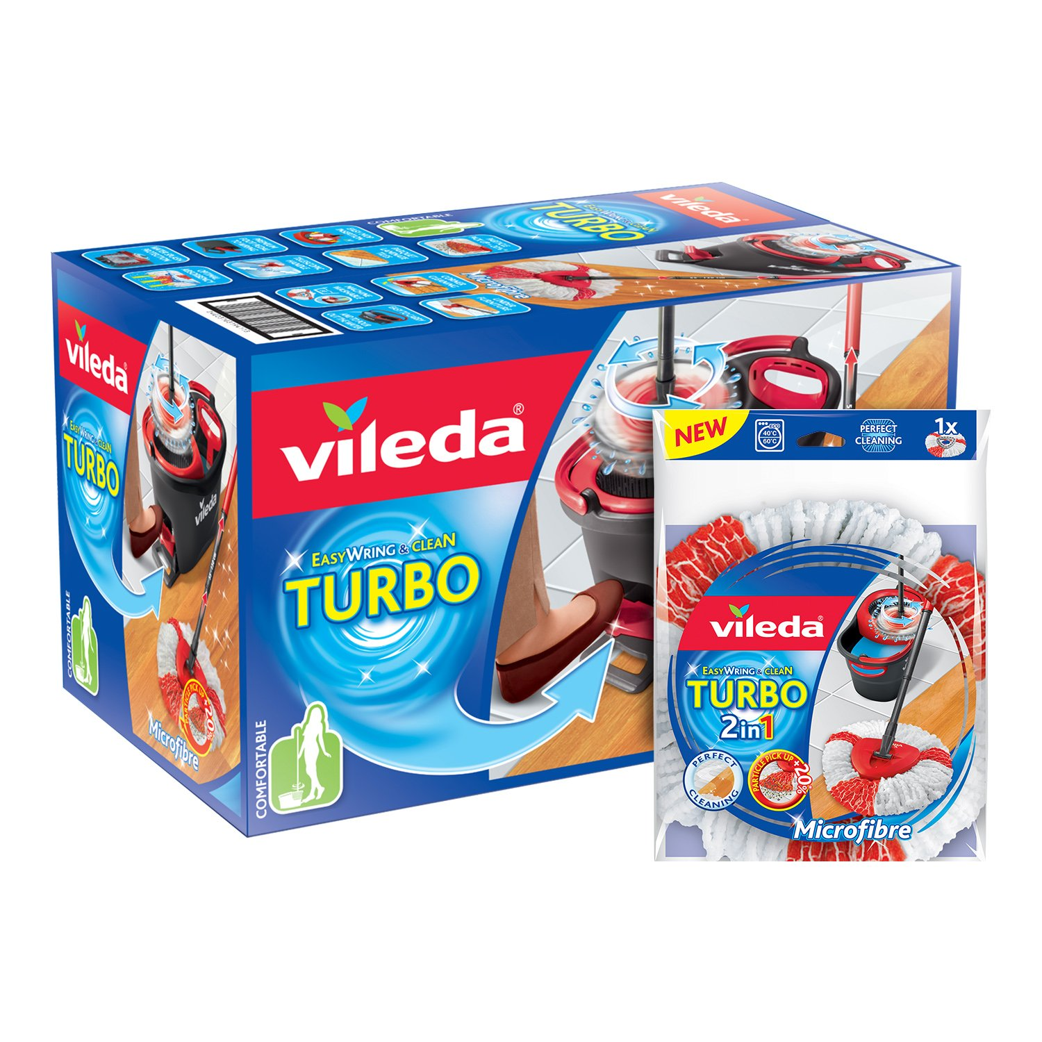 Vileda Easy Wring and Clean Turbo Microfibre Mop and Bucket Set 153096
