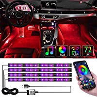 CTFIVING [2021 UPGRADED] Car Interior Lights WIth App Control 4pcs Million Color 72 LED Multicolor Music Car LED Strip…