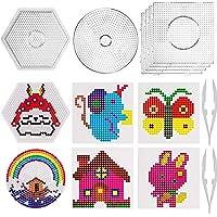 SAVITA Placa de plástico Transparente para Clavos de 5mm, Set de Beads Plantilla Grandes de 6 Piezas- 4 Forma Redonda…