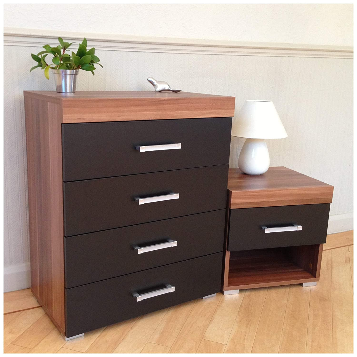 DRP Trading Chest of 4 Drawers & 1 Drawer Bedside Table in Black & Walnut Bedroom Furniture