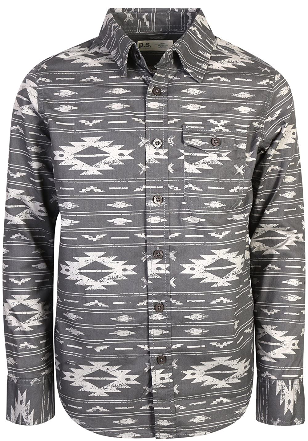 p.s. from aeropostale Boys Long Sleeve Button Down Shirt