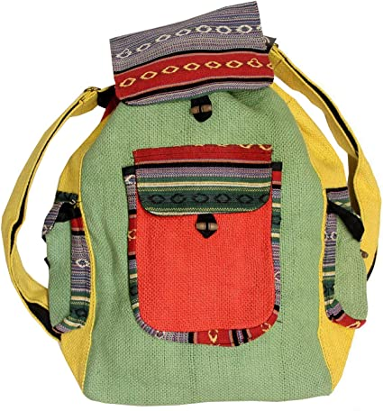Recycled Jute Rice Bag Bohemian Hippie Backpack Hand Made Nepal